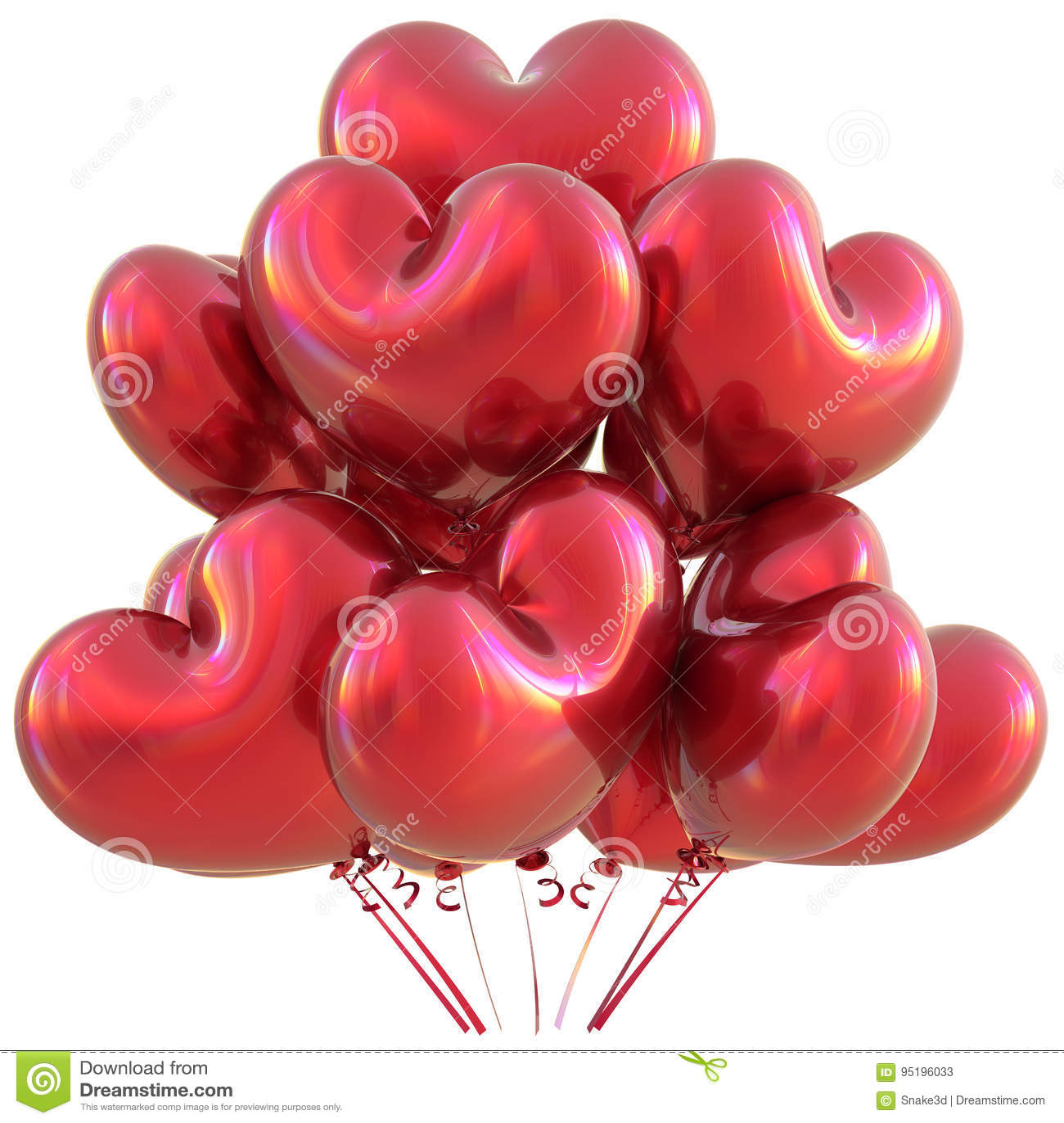 Faites La Fete La Decoration Rouge D Evenement D Amour De Joyeux Anniversaire De Ballons De Coeur Illustration Stock Illustration Du Amour Fete 95196033