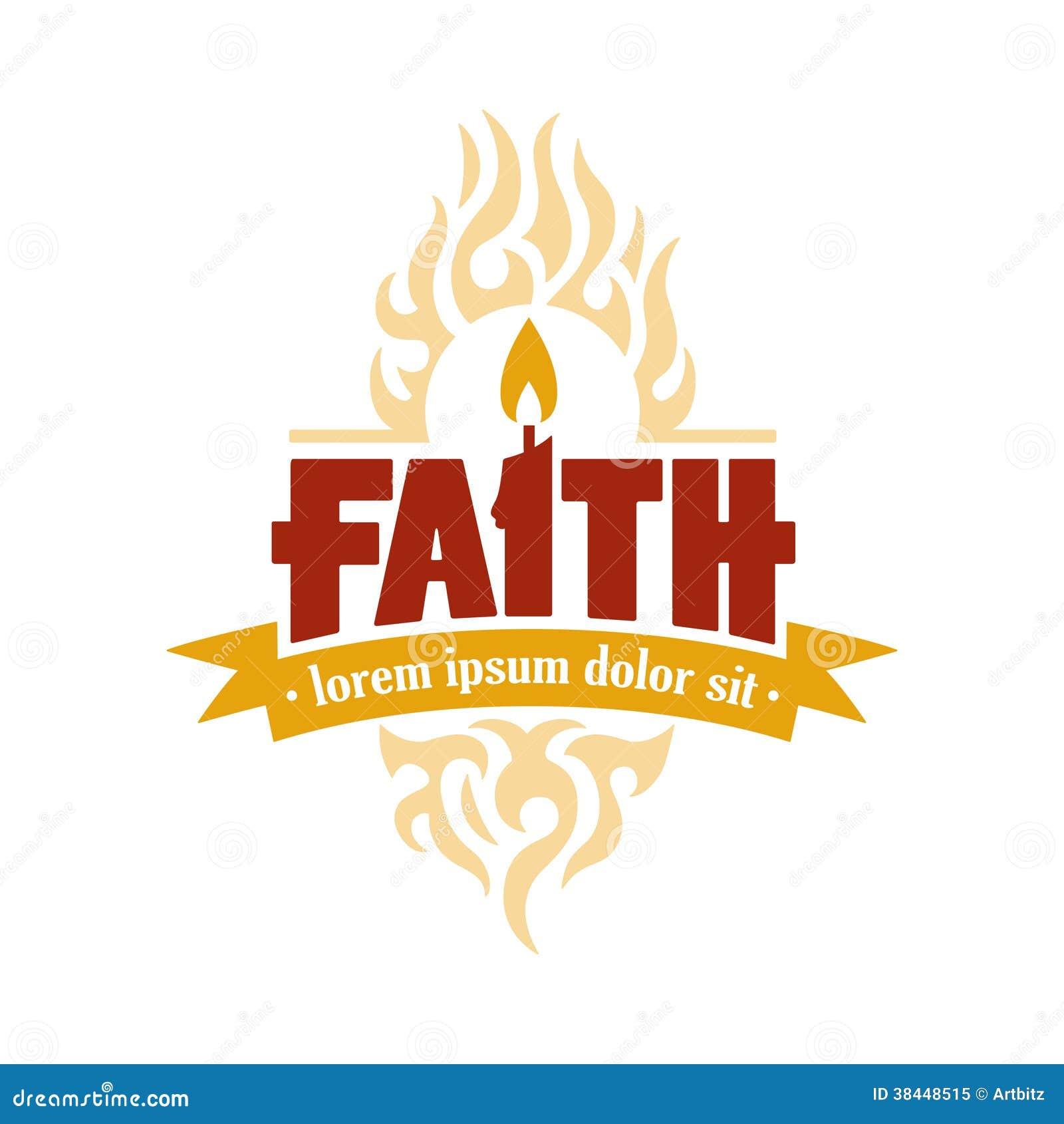 Faith Candle Vector Logo Medallion Stock Illustration