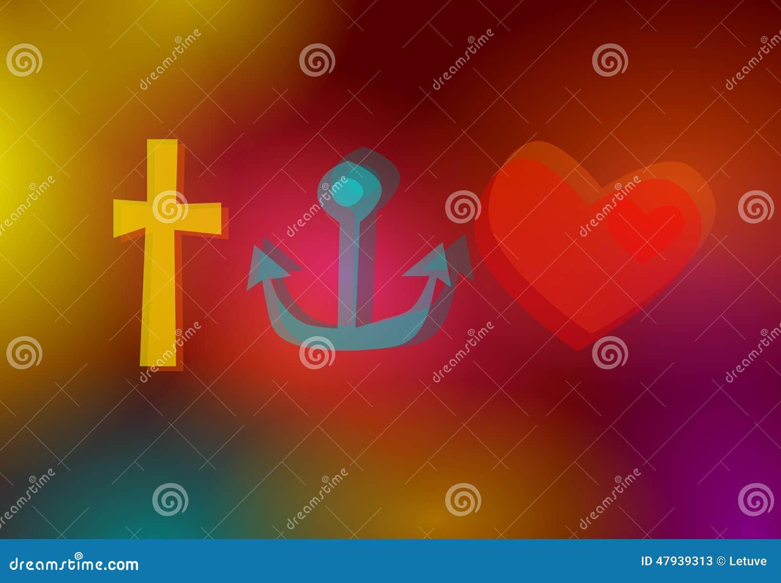 Faith Hope Love Symbols Stock Illustration Illustration Of