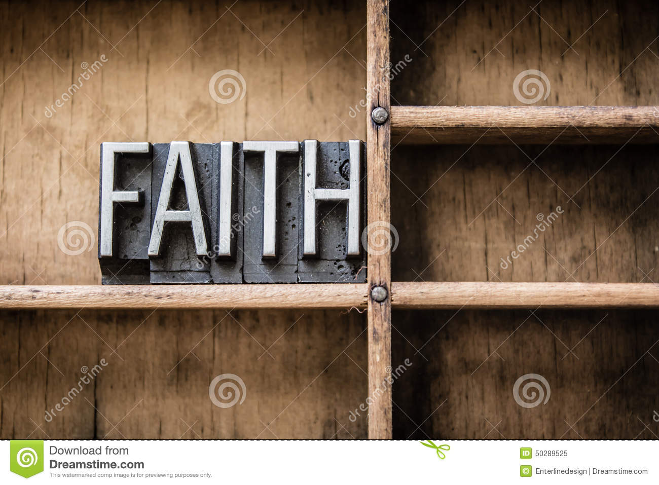 Faith Letterpress Type In Drawer Stock Image - Image of concept