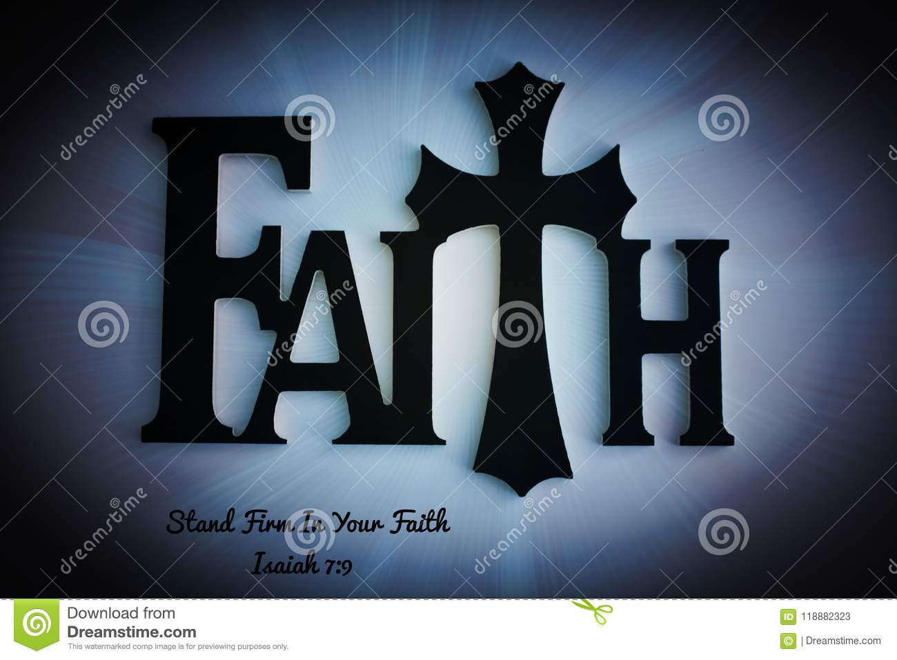 Faith Wooden Word Letters With Cross Background Stock Image Image