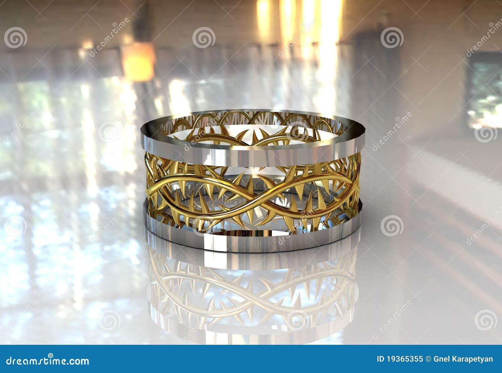 Faixa de casamento da coroa de dois Christ do ouro do tom