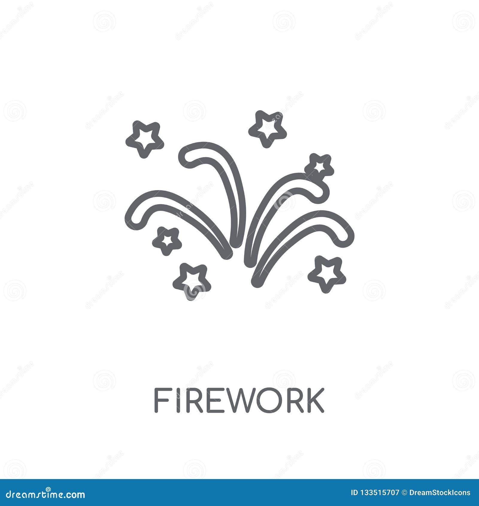 Fajerwerk liniowa ikona Nowożytny konturu fajerwerku logo pojęcie na wh