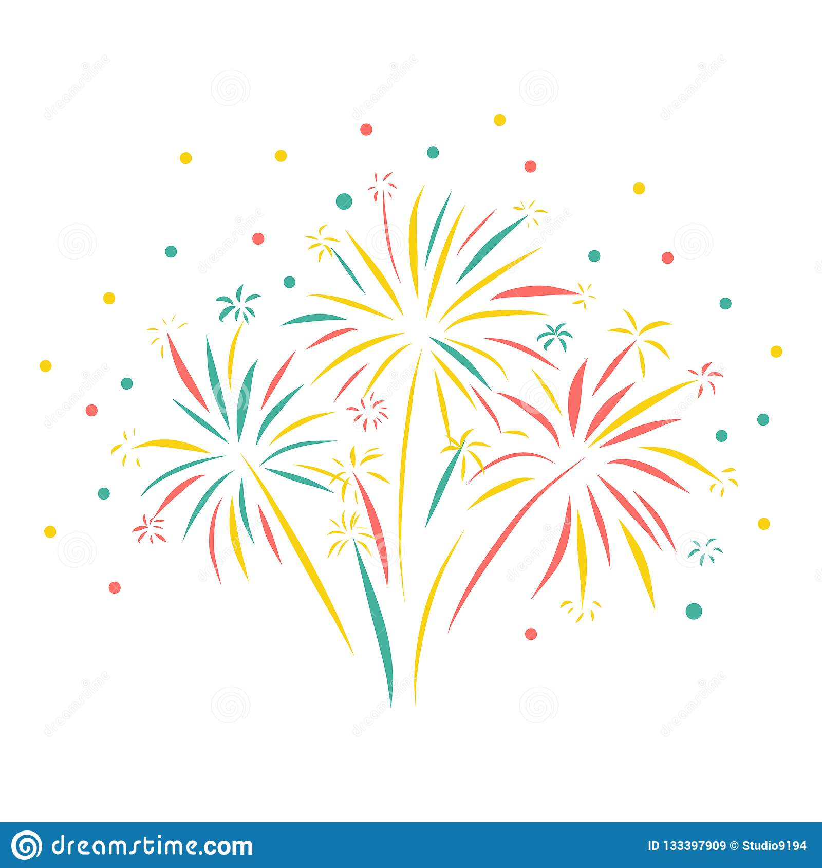Fajerwerk ręka rysująca wektorowa ilustracja odizolowywająca Kolorowa fajerwerk scena Kartka z pozdrowieniami, Szczęśliwy nowy ro
