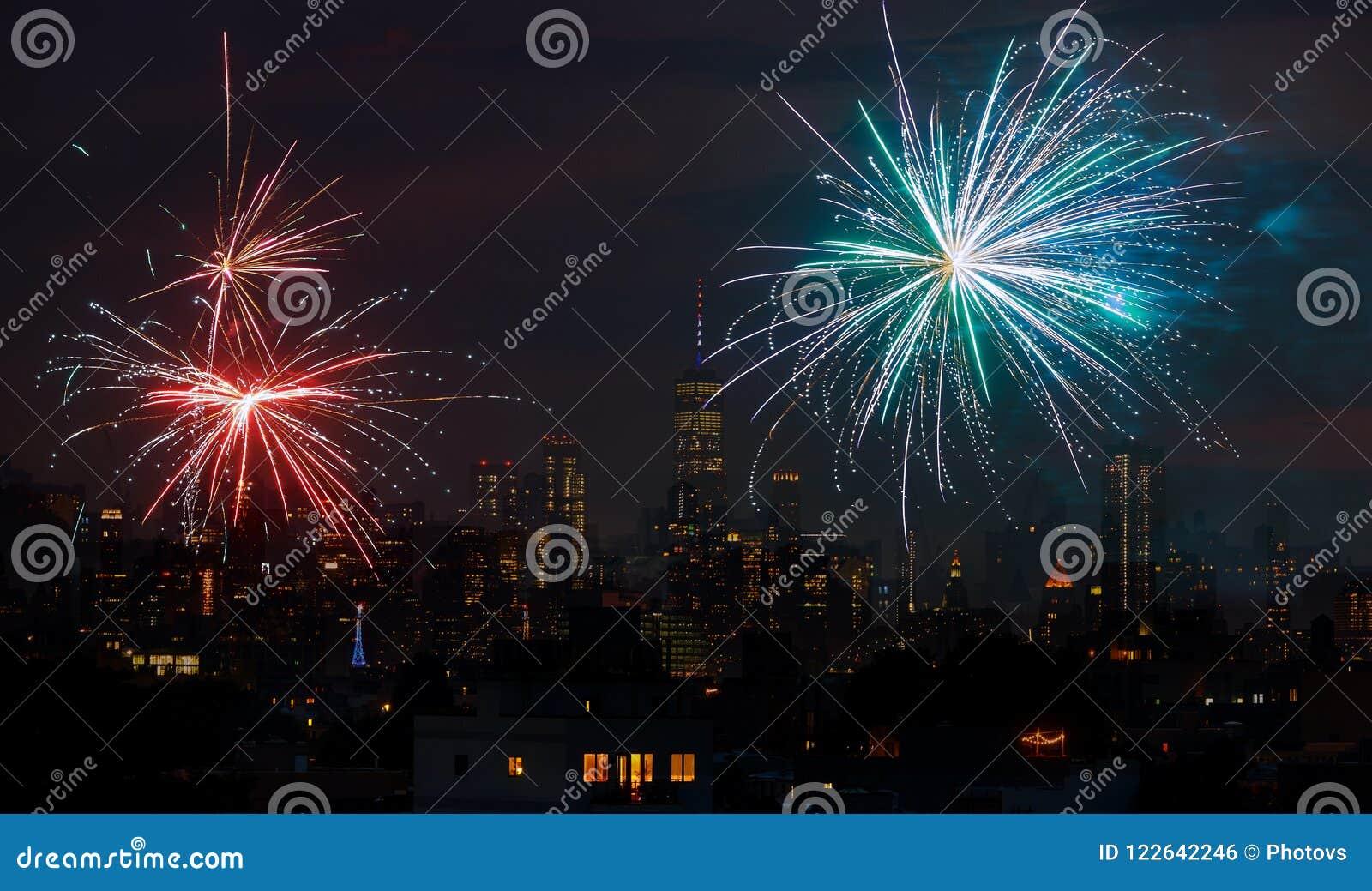 Fajerwerki nad Miasto Nowy Jork odświętności usa dniem niepodległości