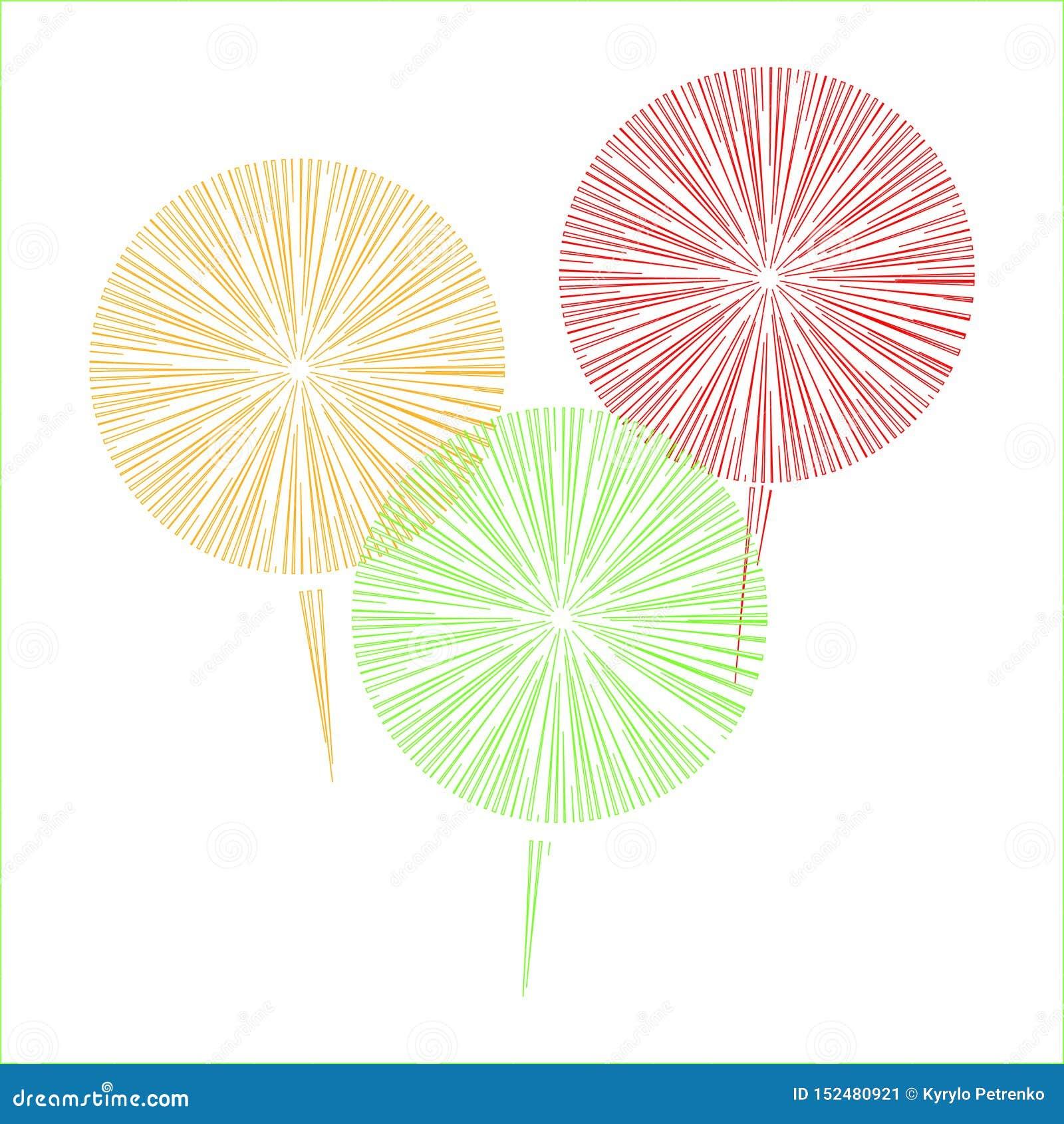 Fajerwerki trzy koloru na białym tle