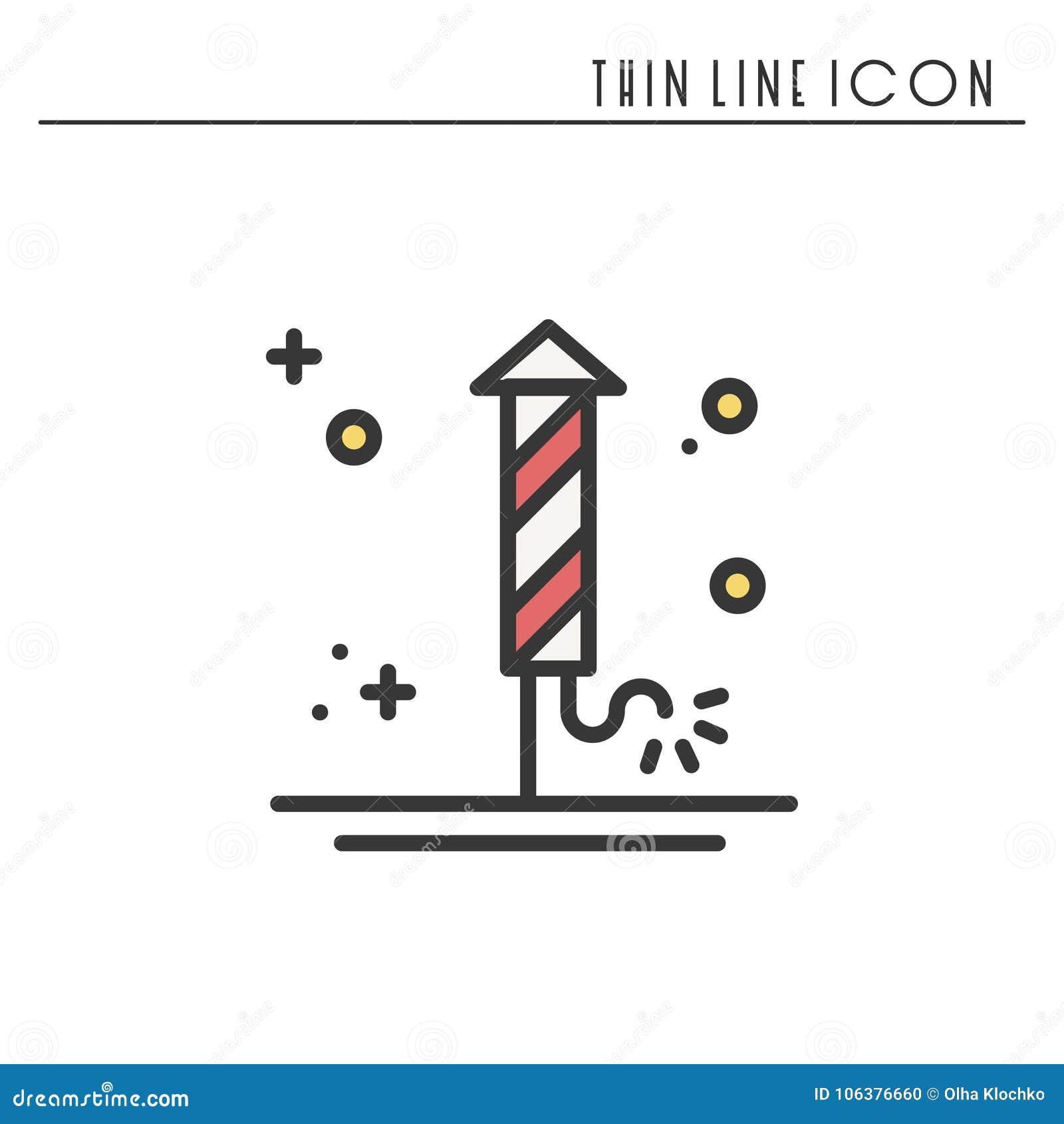 Fajerwerku banger petardy salutu ikona Bożenarodzeniowy świętowanie dekorujący nowego roku piktogram Xmas zimy cienka linia