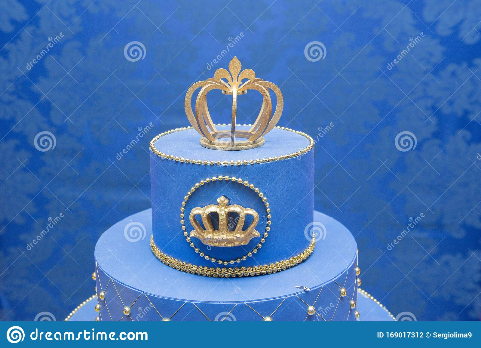 Strange Fake Blue Birthday Cake With A Crown On Top Stock Photo Image Birthday Cards Printable Trancafe Filternl