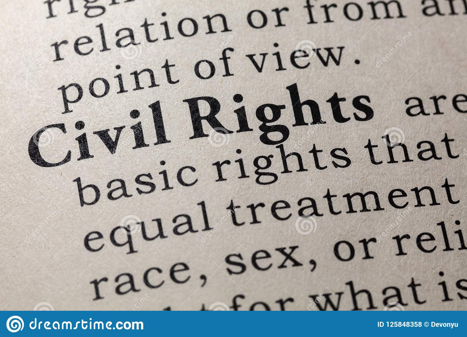 definition of civil rights stock photo. image of close - 125848358