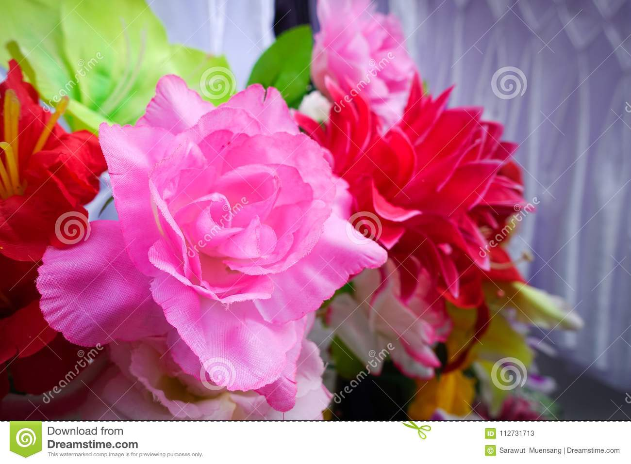 Fake Flower And Floral Background Rose Flowers Made Of Fabric The