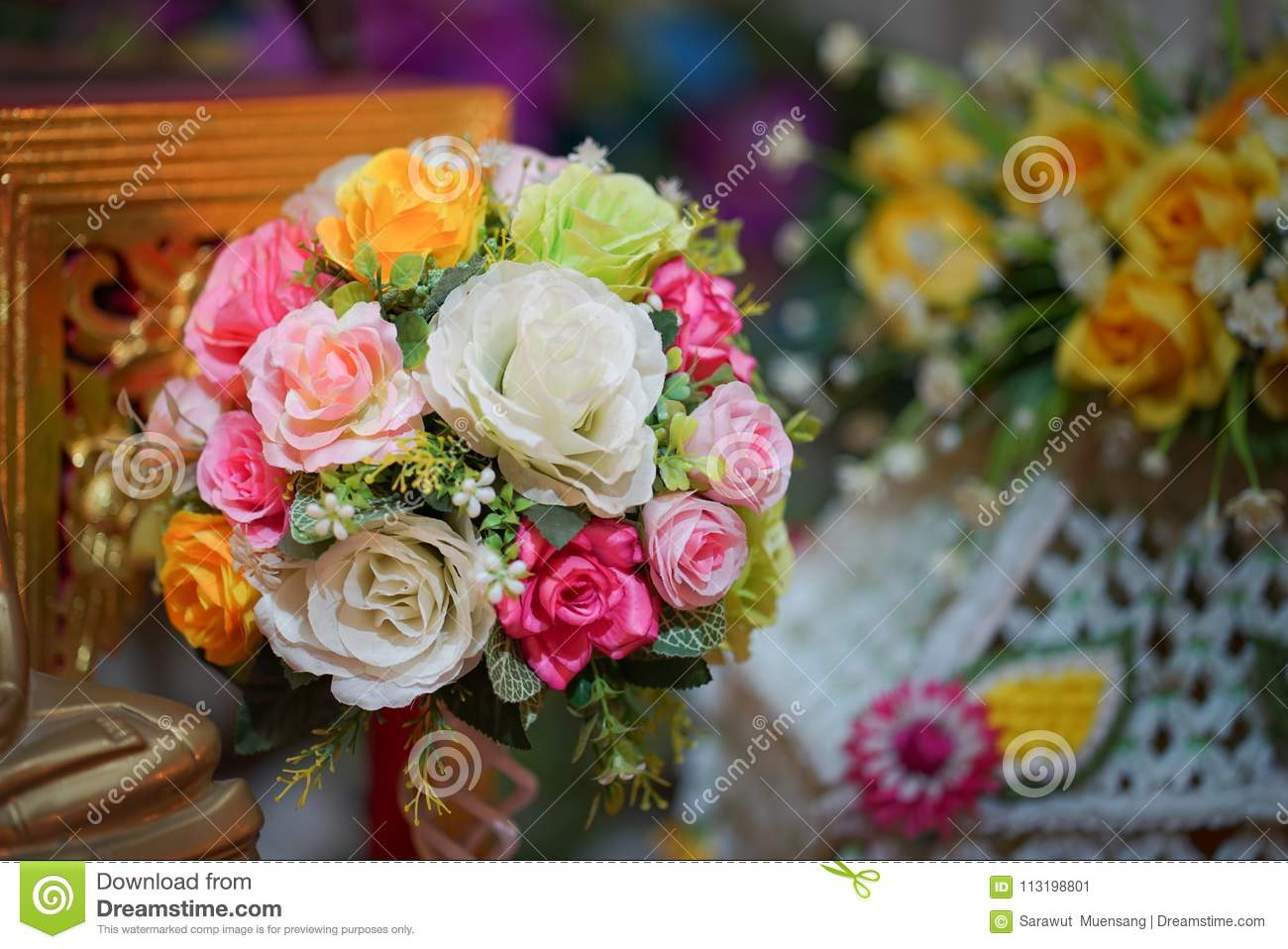 Fake flower and floral background rose flowers made of fabric the fake flower and floral background rose flowers made of fabric the fabric flowers bouquet izmirmasajfo