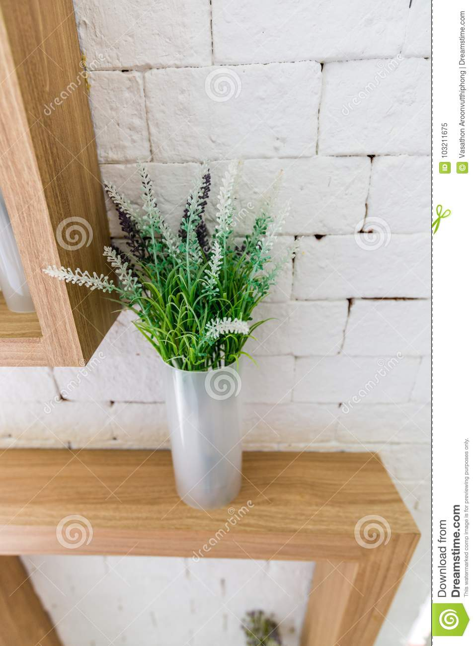 Fake flower and leaf in the vase & Fake Flower And Leaf In The Vase Stock Image - Image of wood ...