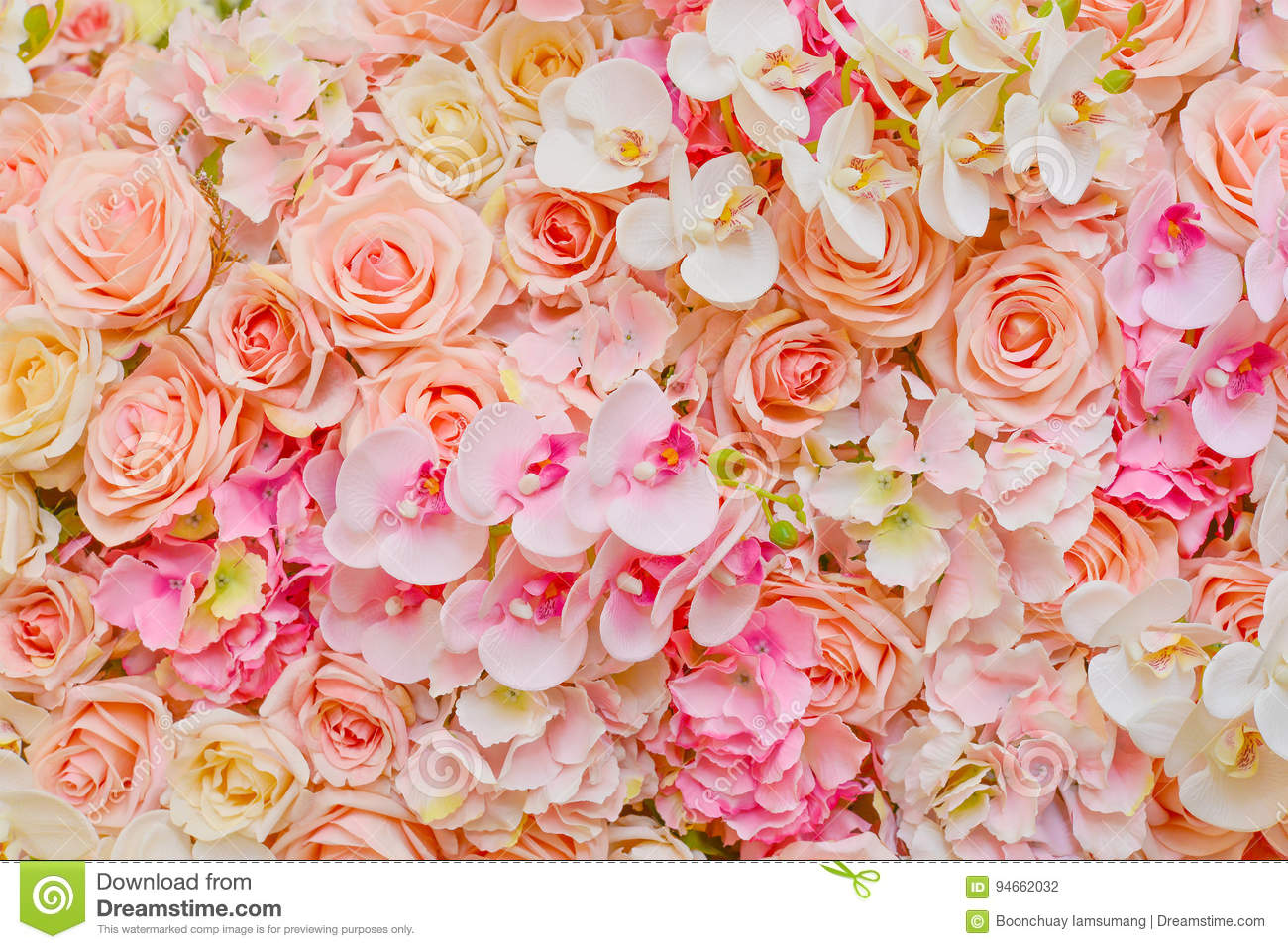 Fake Flowers Of Beautiful Pink Roses And Orchids For Wedding Stock