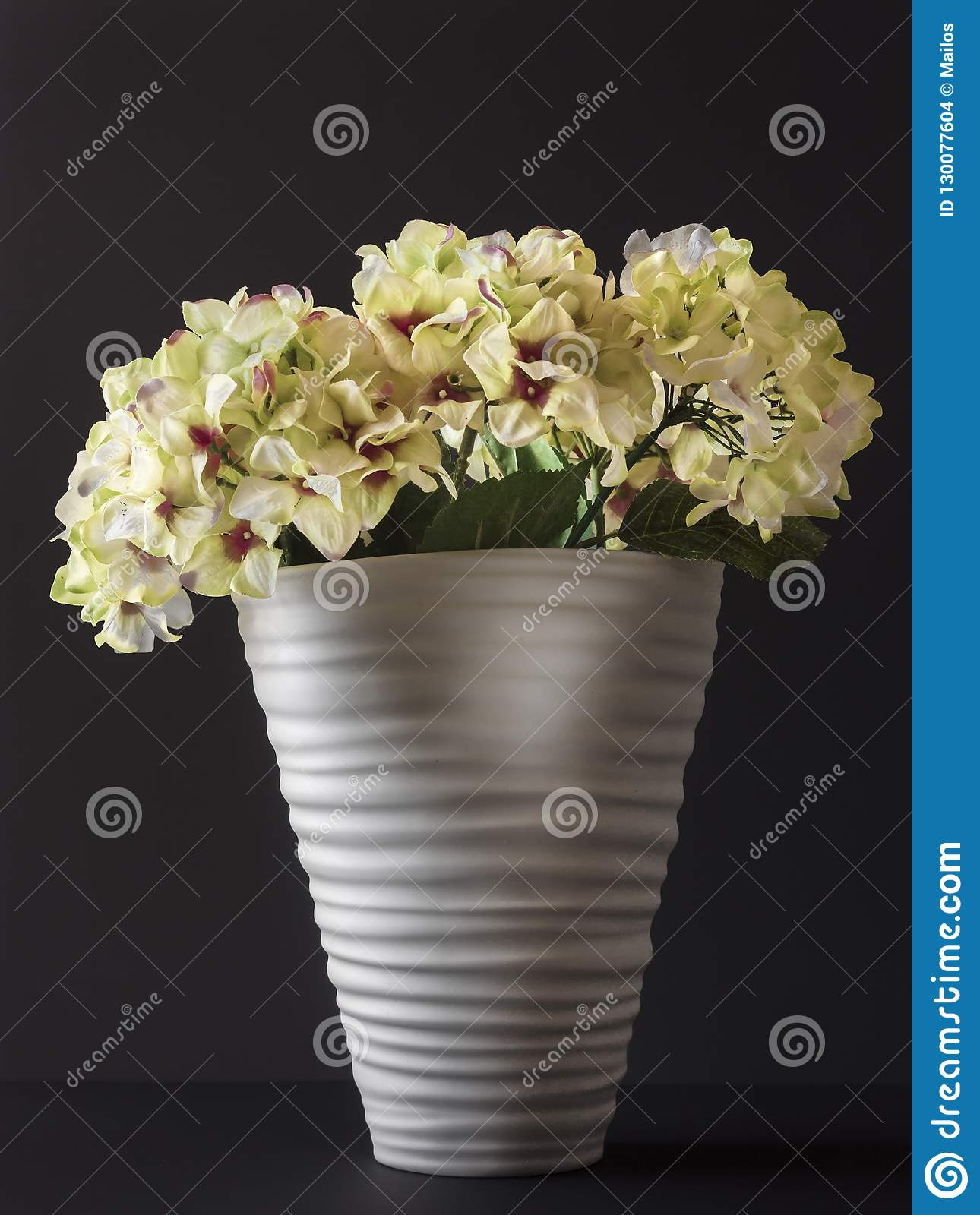 Dreamstime.com & Fake Flowers In A Vase Of White Color On A Black Background ...
