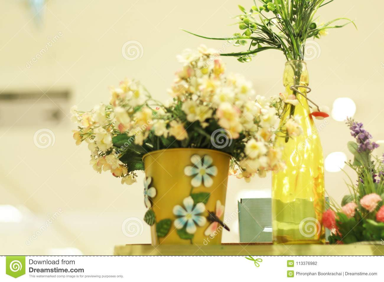 Fake Flowers In A White Vase Stock Photo Image Of Beautiful