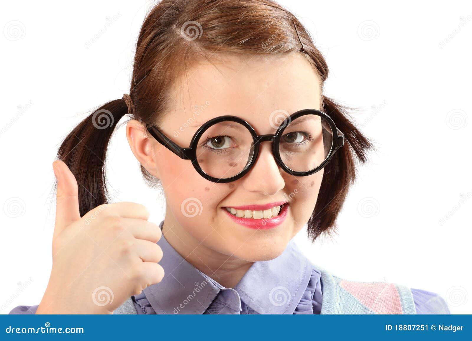 Geeky girl thumbs