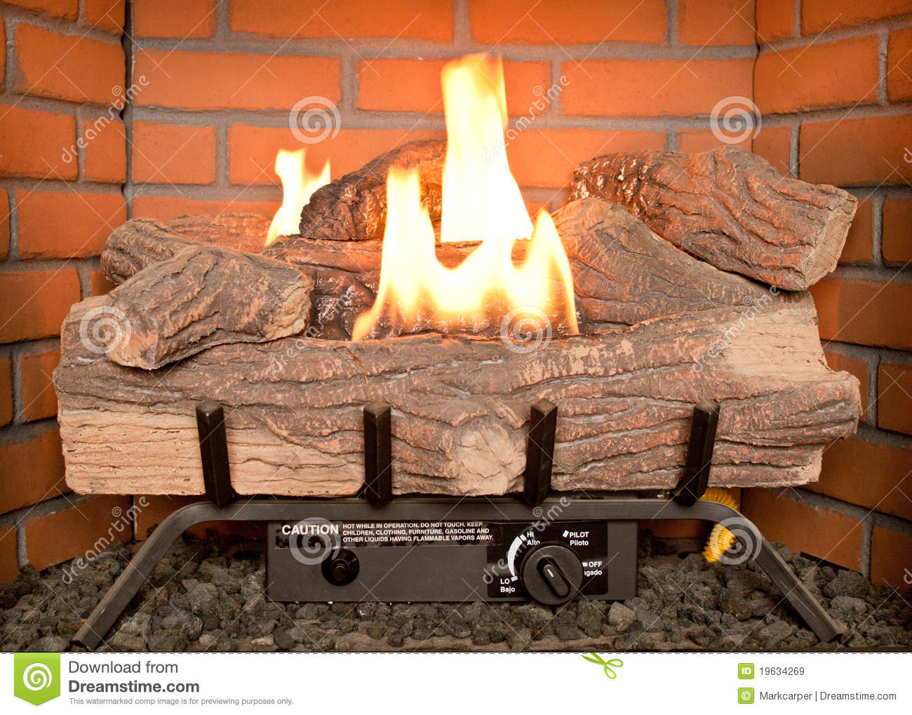 Fake Log Fire Stock Image Image Of Controlled Cozy