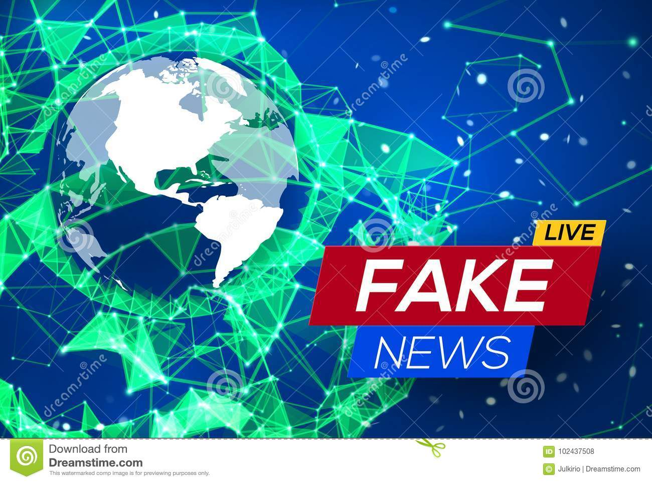 Fake news live with world map on blue background stock vector fake news live with world map on blue glowing plexus structure background business technology news background with earth planet gumiabroncs Gallery
