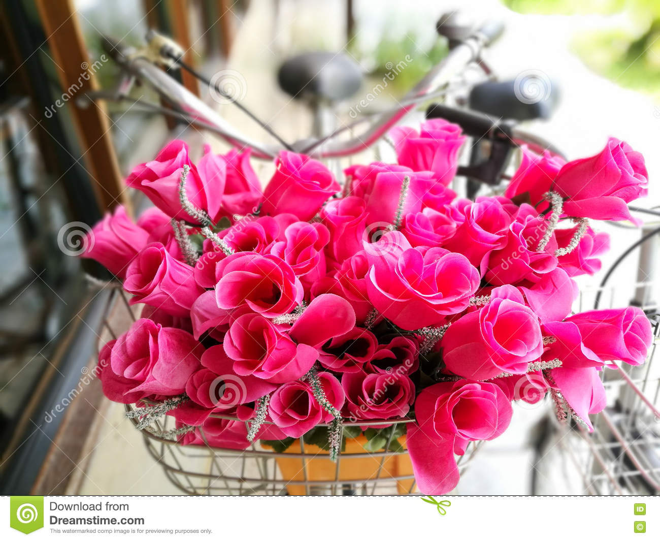 Fake Pink Flowers In Bike Basket Stock Image Image Of Blossoms