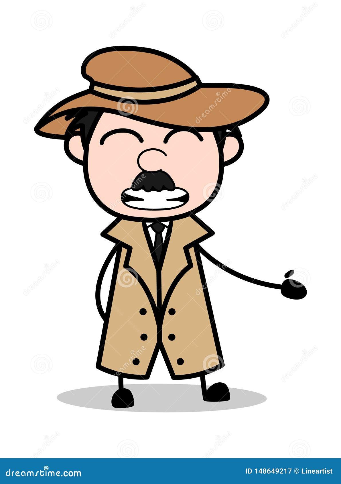 Agent Fake fake smile - retro cartoon police agent detective vector