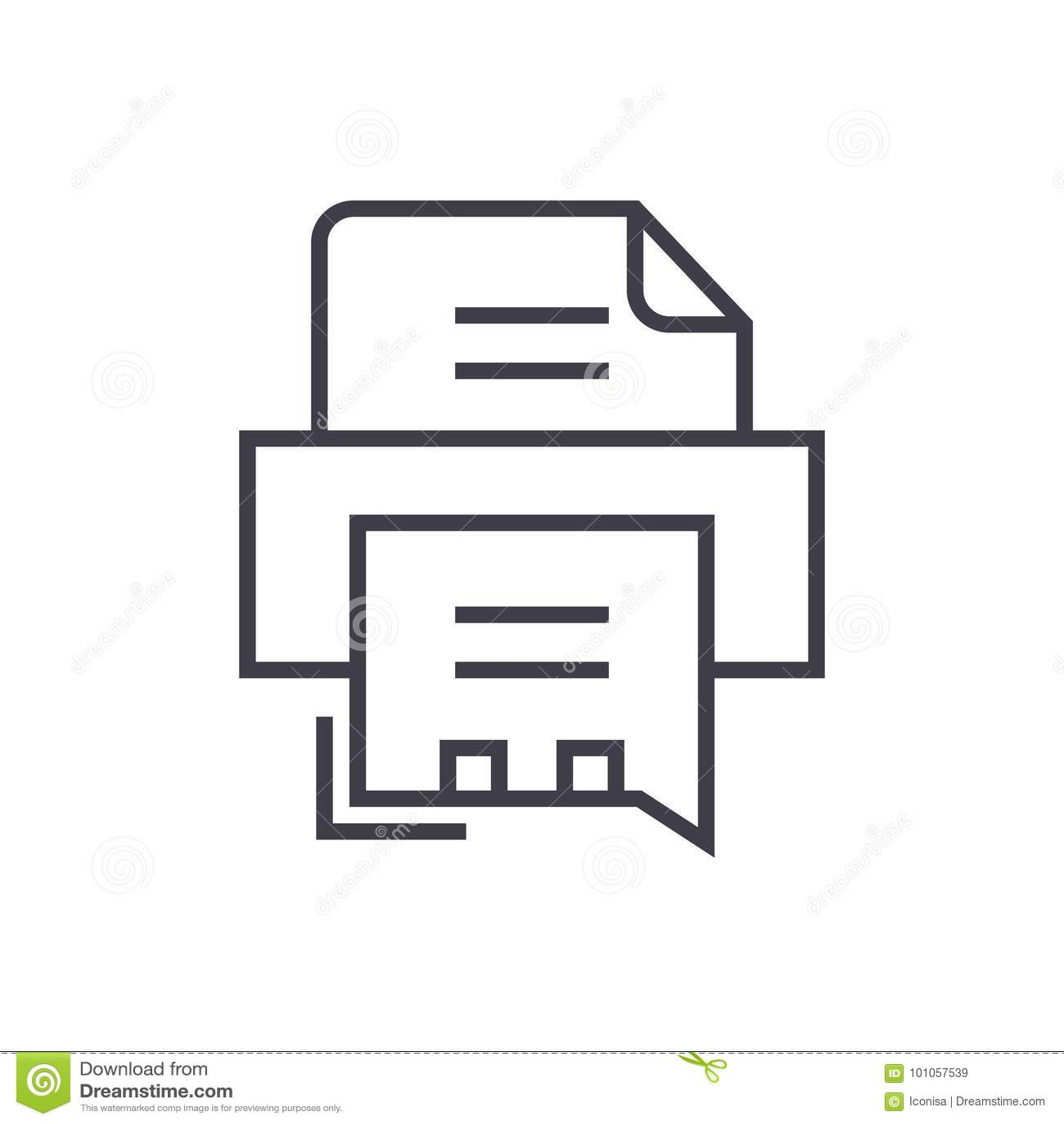 Faks drukarki wektoru linii ikona, znak, ilustracja na tle, editable uderzenia