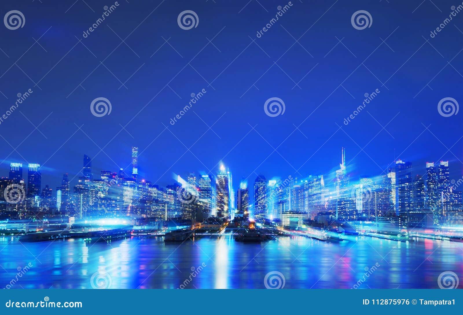 Faktisk stad, abstrakta digitala New York skyskrapor