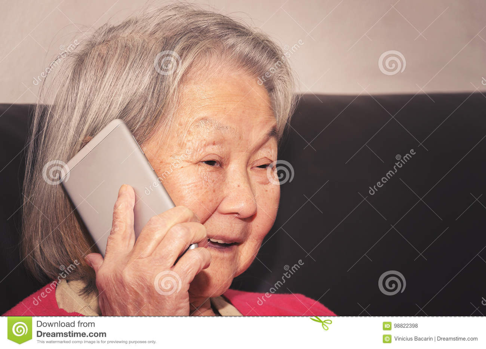 Fala da mulher adulta feliz no telefone