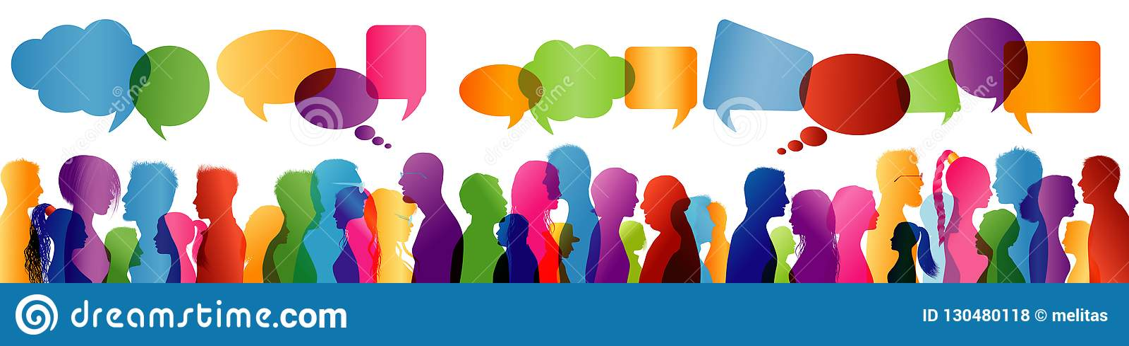 Fala da multidão Fala do grupo de pessoas Uma comunicação entre povos Silhueta colorida do perfil Bolha do discurso