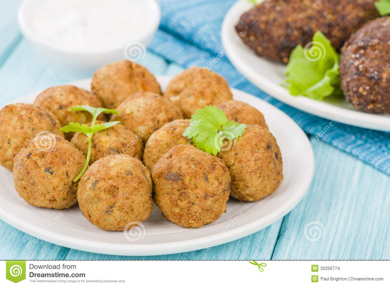 Falafel - Middle Eastern chickpea and fava beans fried balls served ...