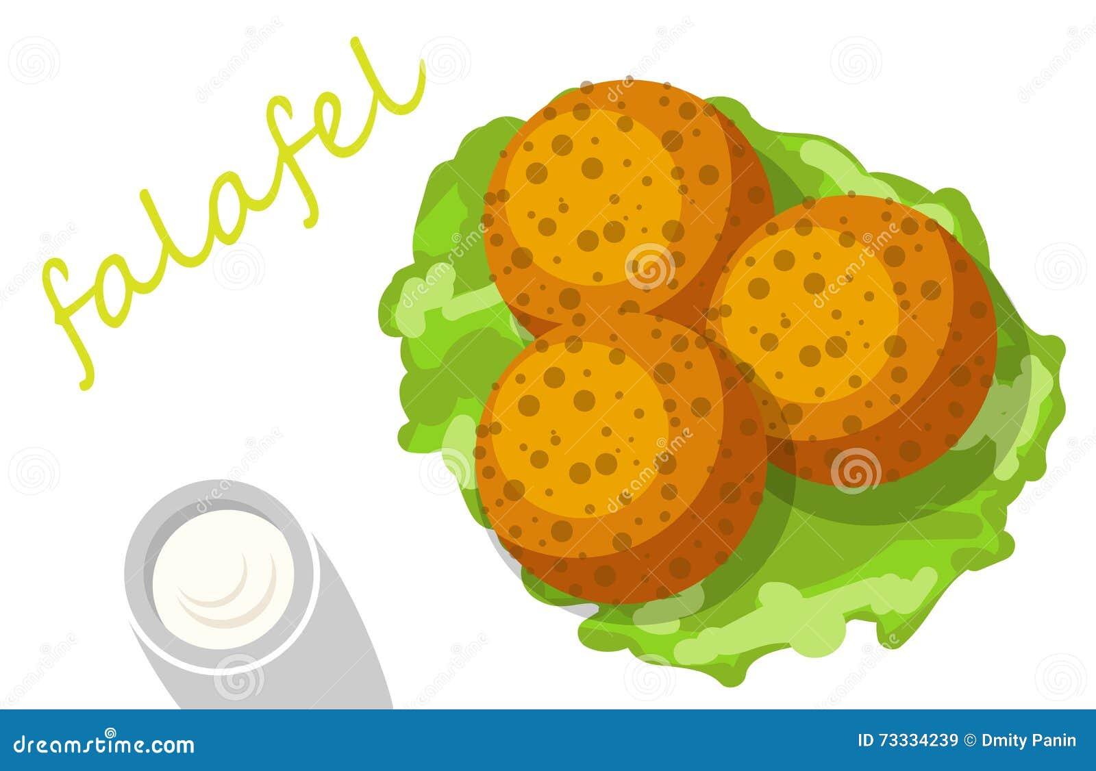Falafel Stuffed Pita With Vegetables. Cartoon Vector ... Falafel Clipart