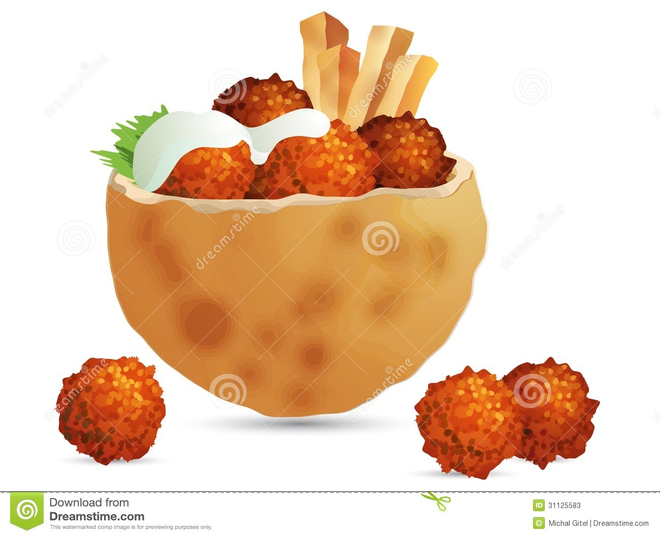 ... deep-fried falafel ball, in pita bread, with french fries, on white French Menu Clipart