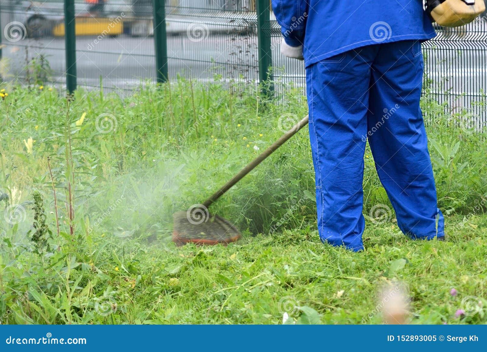 Falciatrice da giardino della benzina Erba tagliata intorno al recinto uomo che controlla l estintore