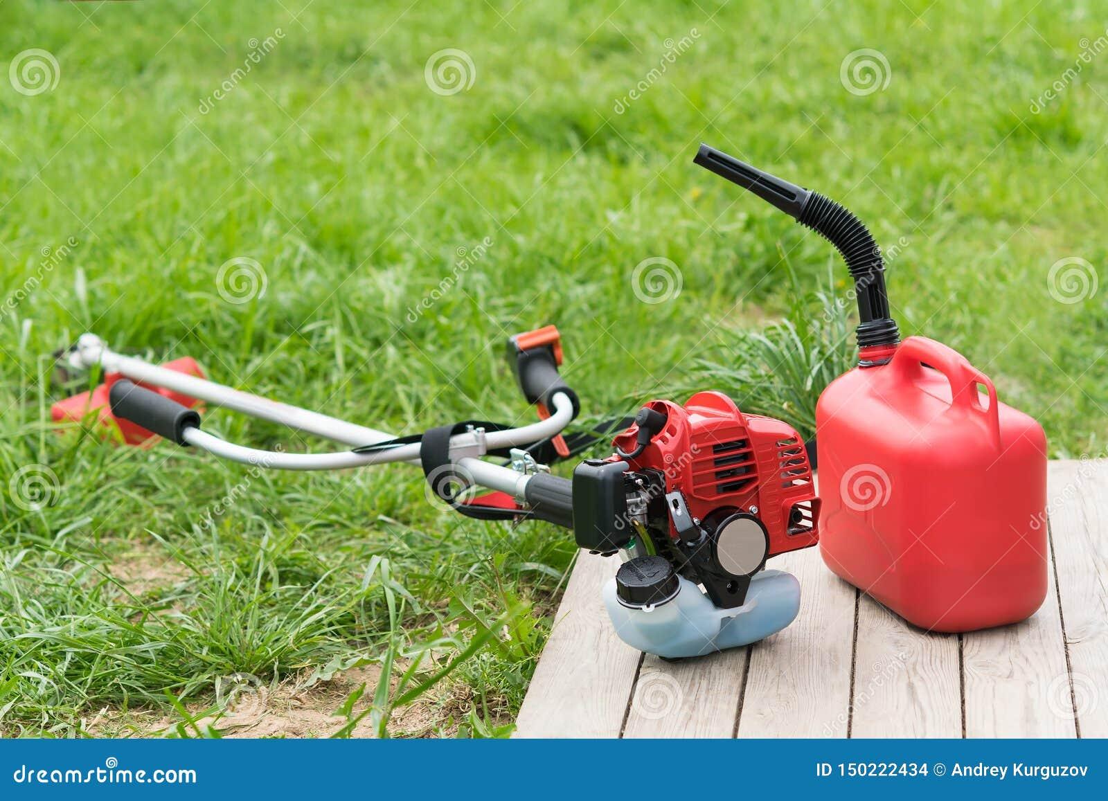Falciatrice da giardino e bidone per la benzina con benzina sui precedenti di erba verde