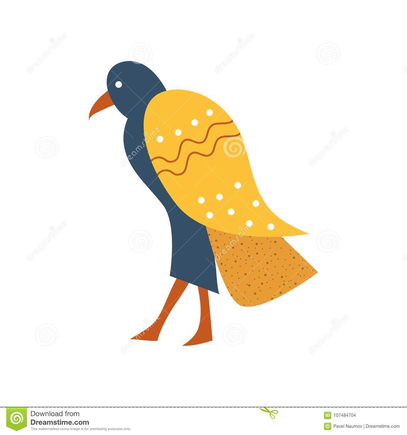 Falcon Blue Bird With Golden Wings Symbol Of Traditional Egyptian