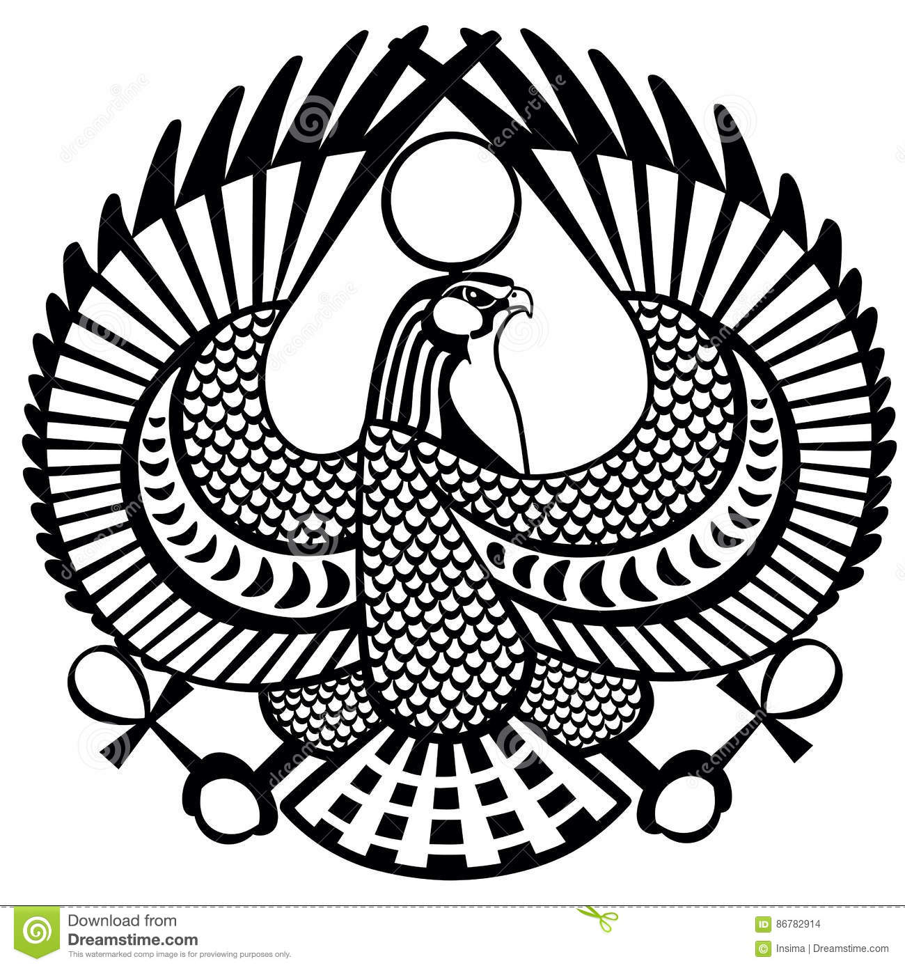 falcon symbol of horus black white stock vector image