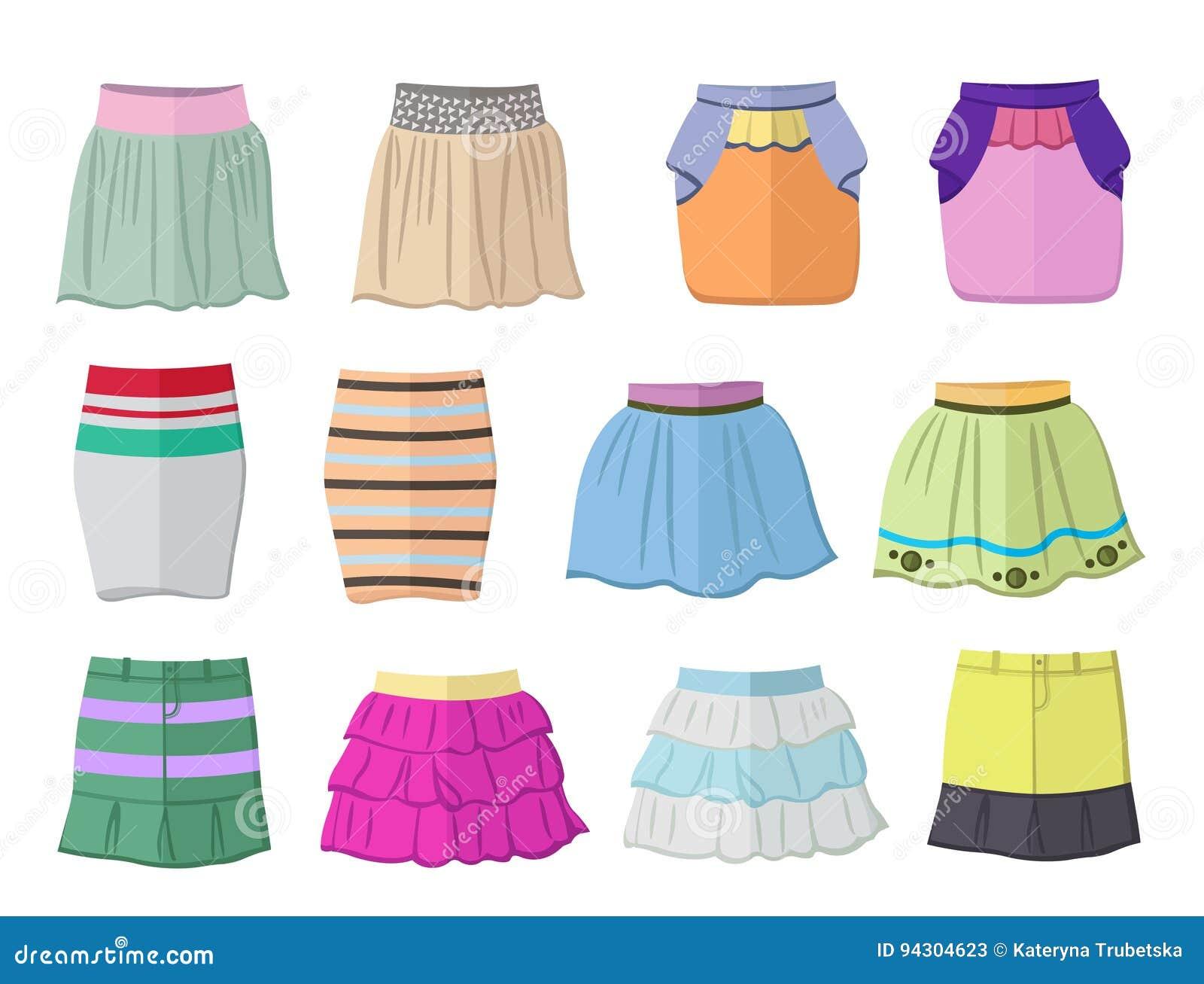 Faldas Cortas Del Verano En Diseño Plano Ilustración del Vector ... 0acb46eb5949