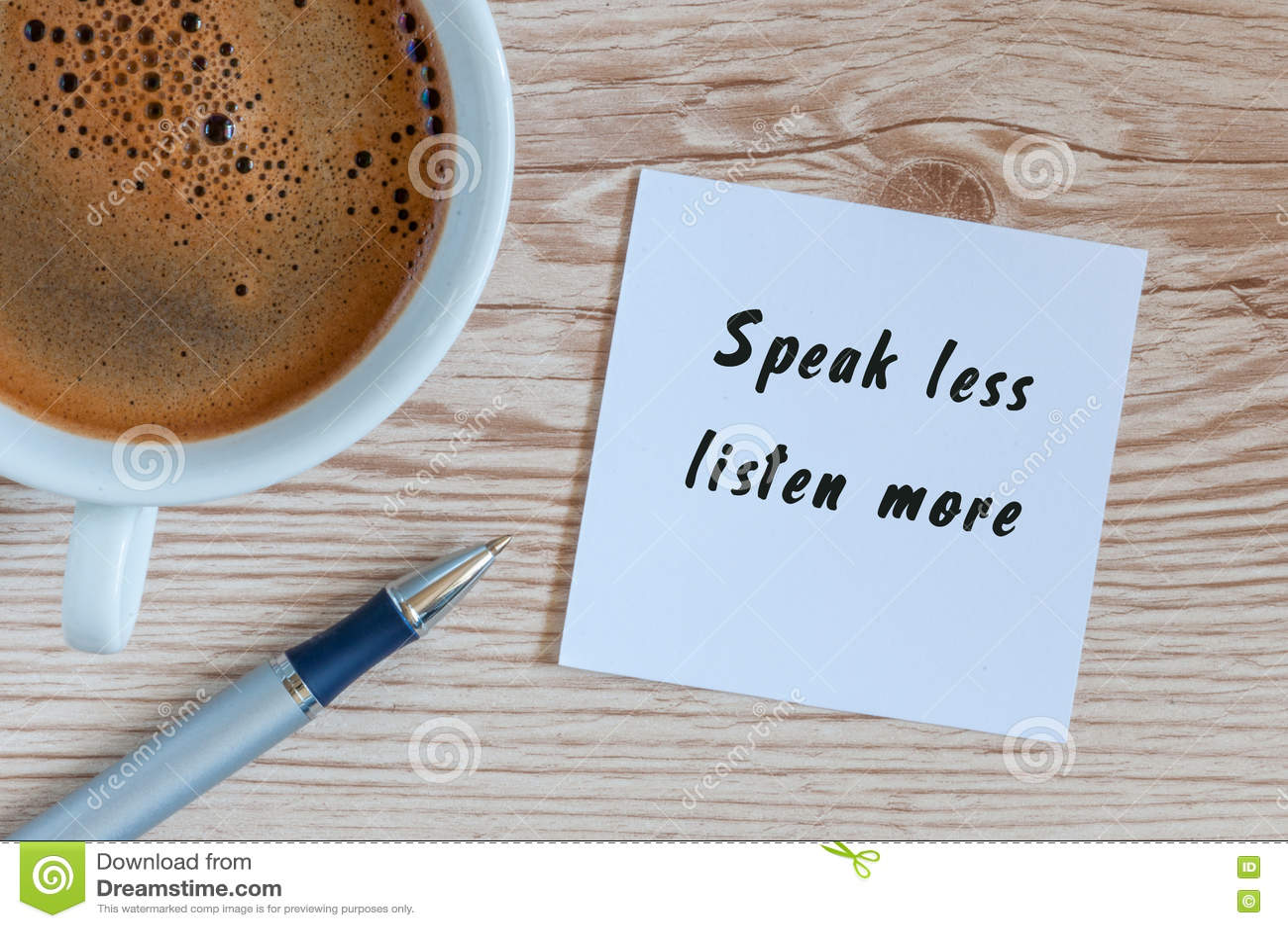 Fale Escutam Menos Mais Frase Escrita No Papel E No Copo