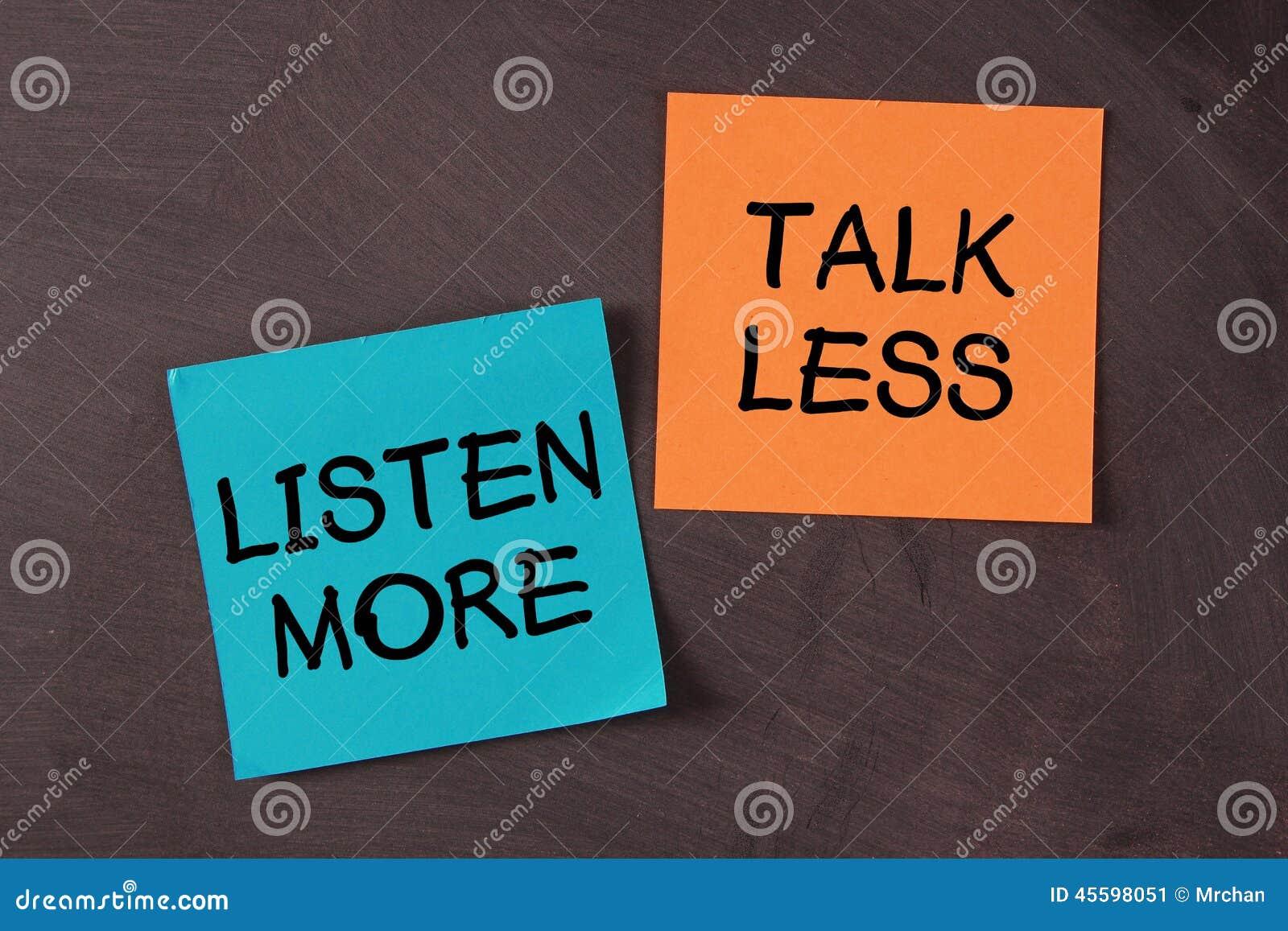 Fale Menos E Escute Mais Imagem De Stock. Imagem De Colado