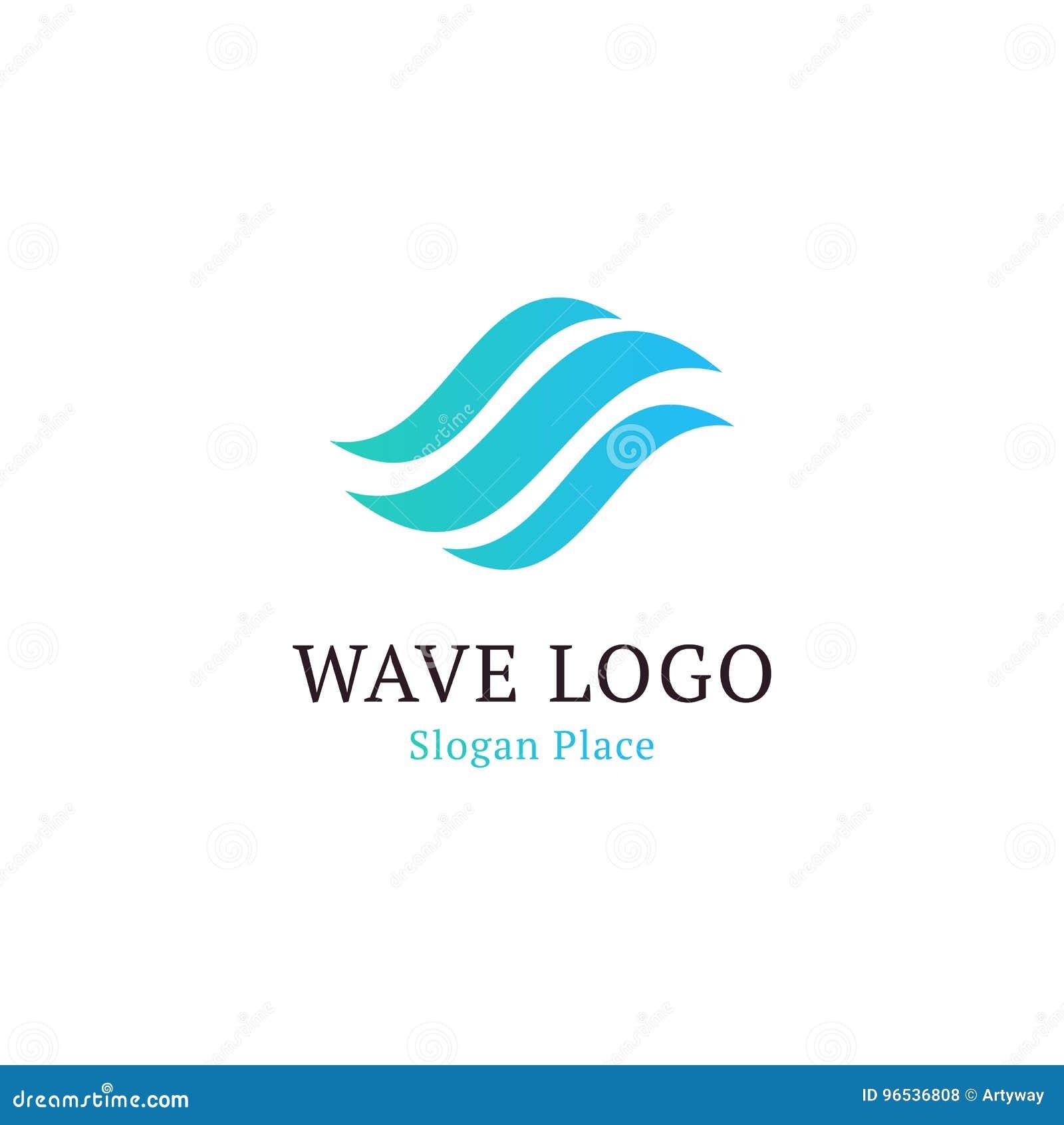 Falista fala w round kształta, czerwieni i błękita piórkowych logach, Odosobniony abstrakcjonistyczny dekoracyjny loga set, proje