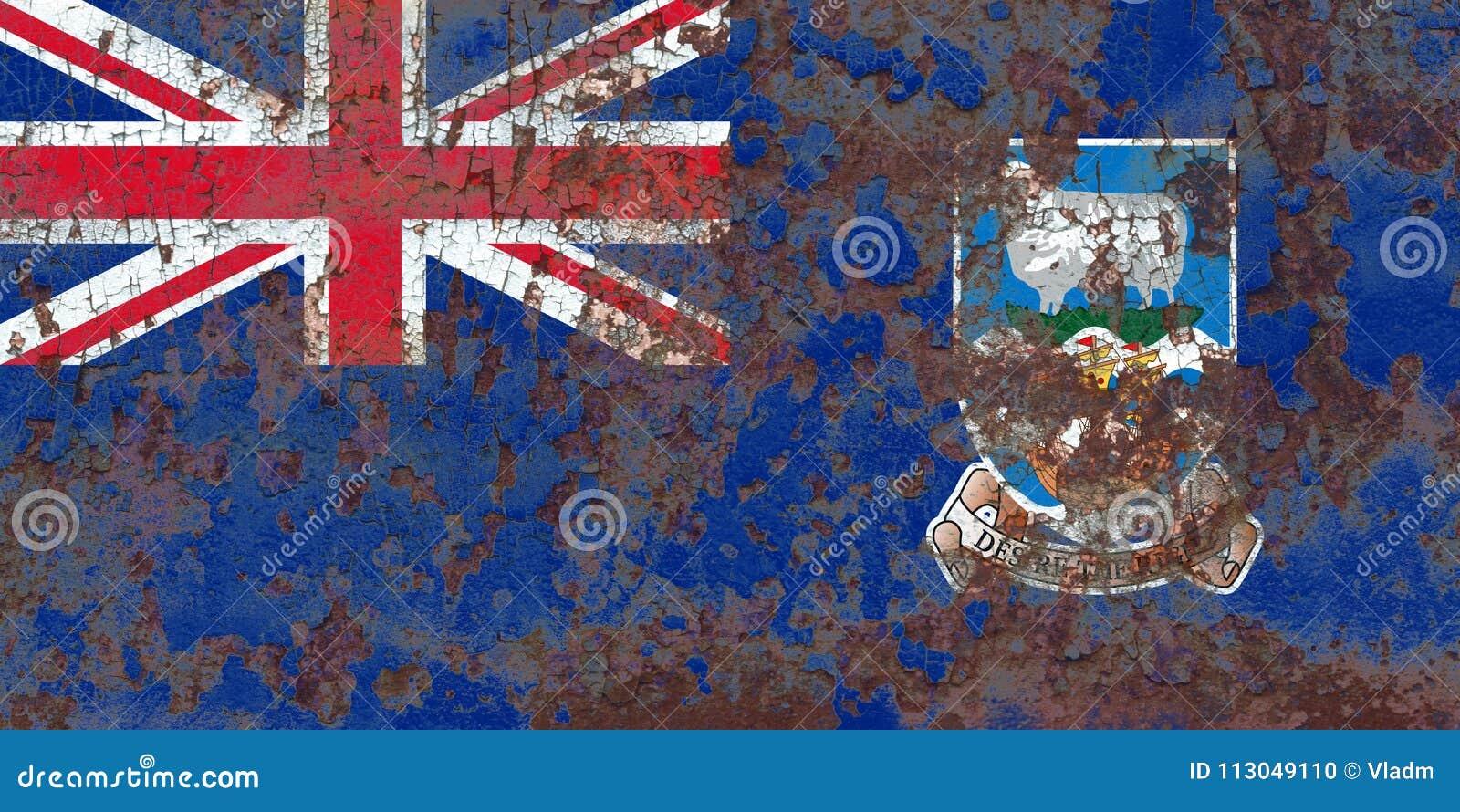 Falkland Islands grungeflagga, brittiska utländska territorier, britt