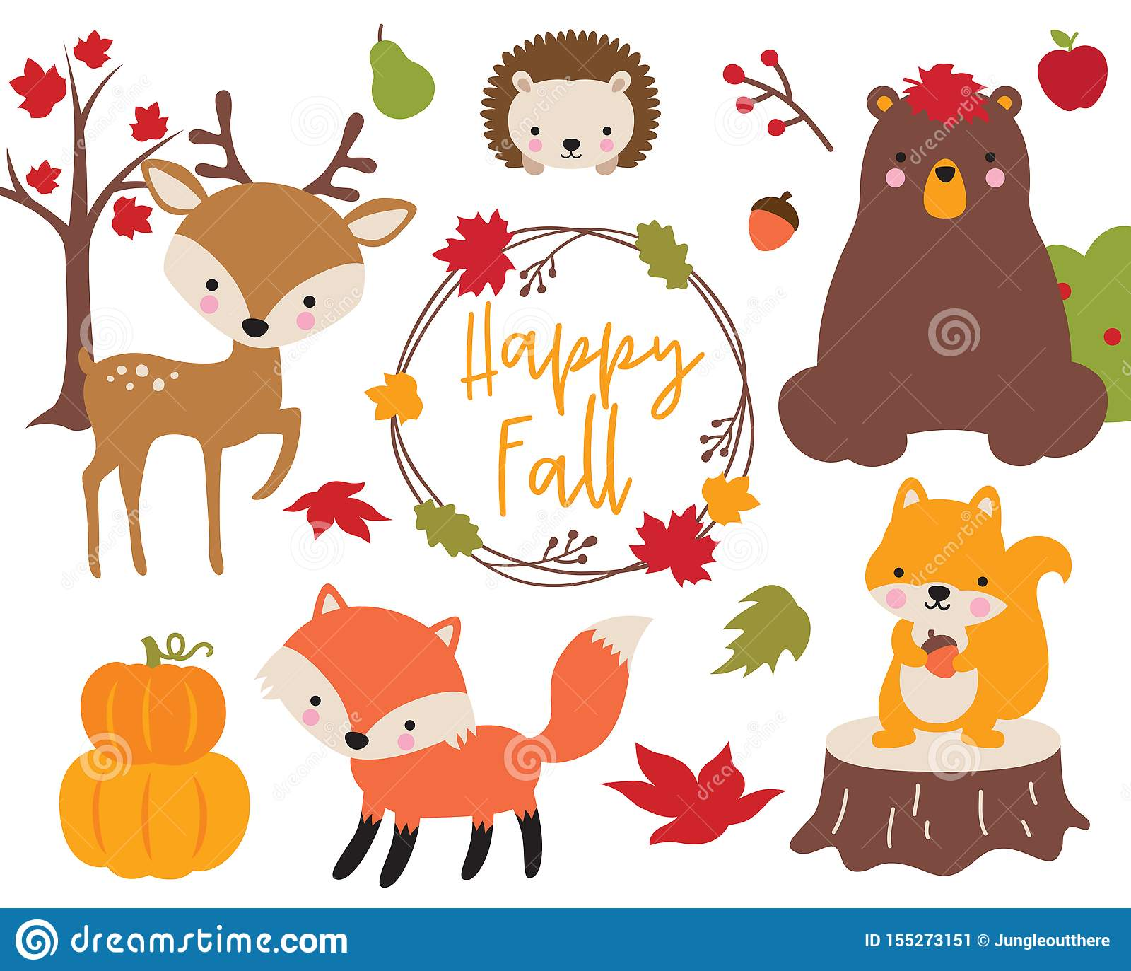 Cute Fall Autumn Woodland Animals Stock Vector Illustration Of Character Deer 155273151
