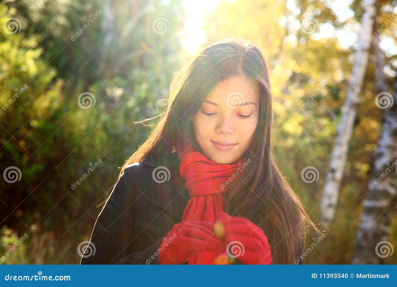 Fall / autumn woman daydreaming