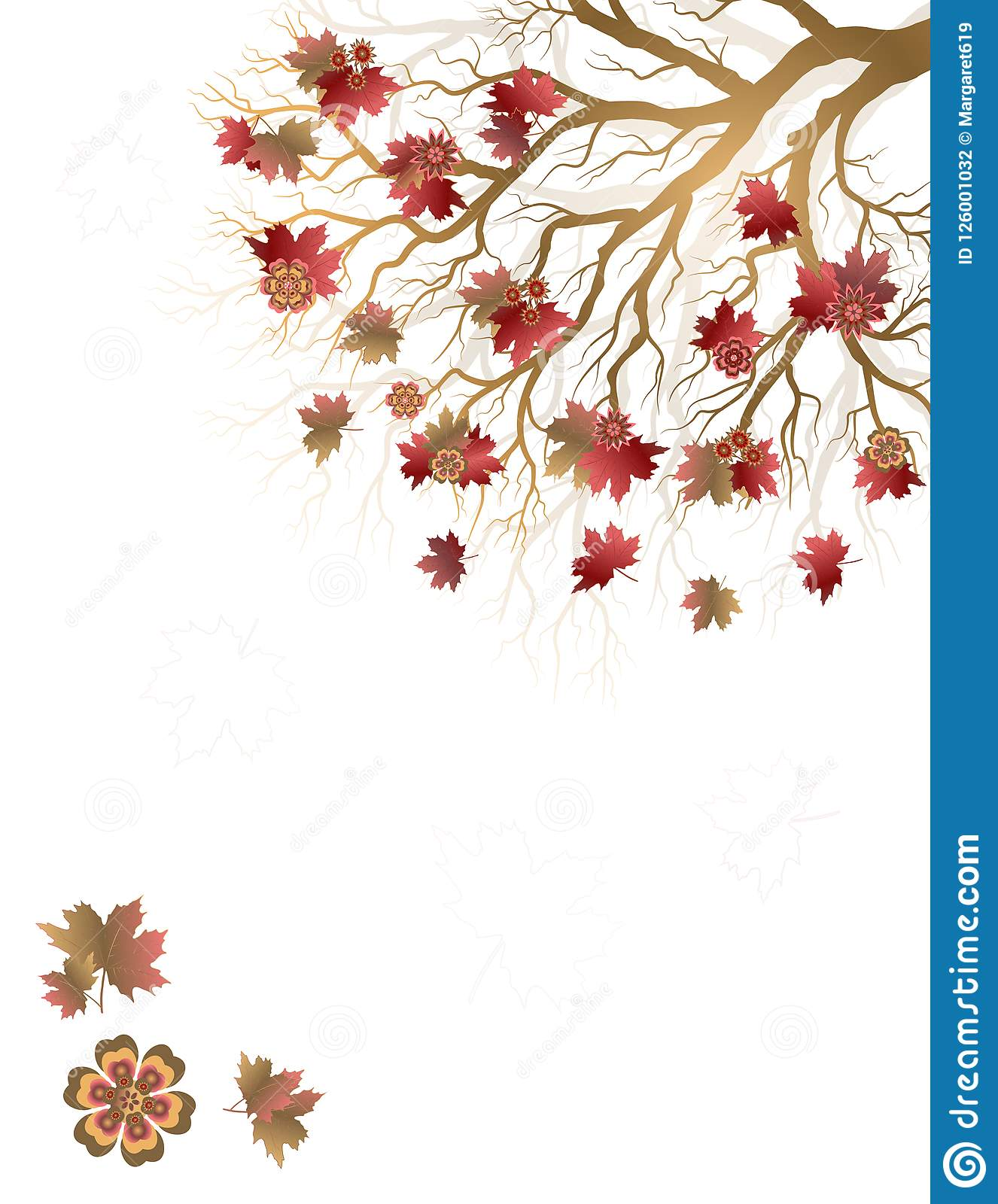 Fall background with colorful tree and falling leaves isolated on white background.