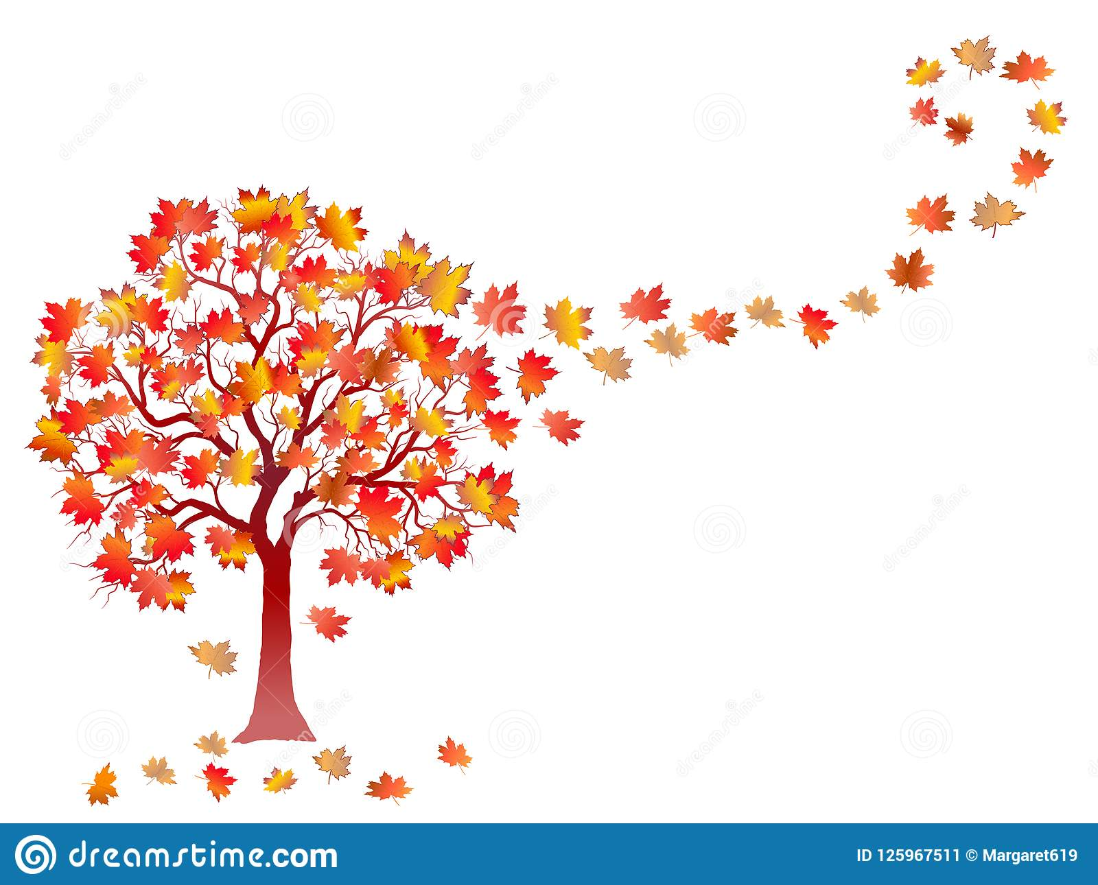 Fall Background With Colorful Tree And Falling Leaves Isolated On White Background Stock Illustration Illustration Of Brochure Card 125967511