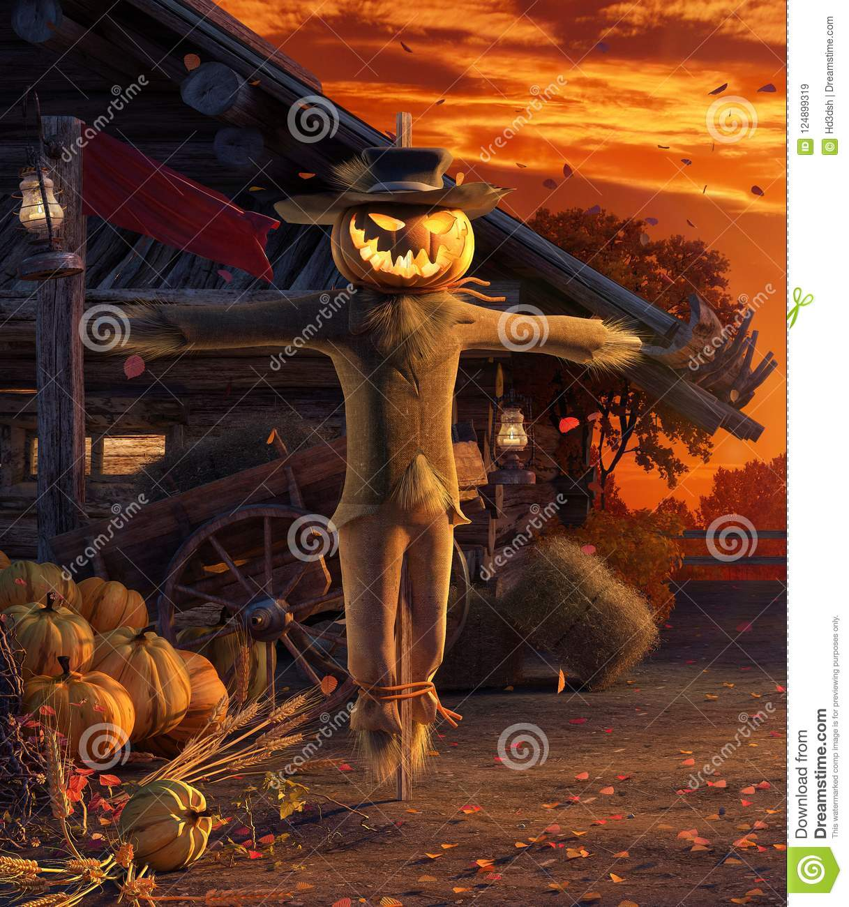 Fall in backyard with leaves falling from trees and Halloween pumpkin scarecrow, autumn background