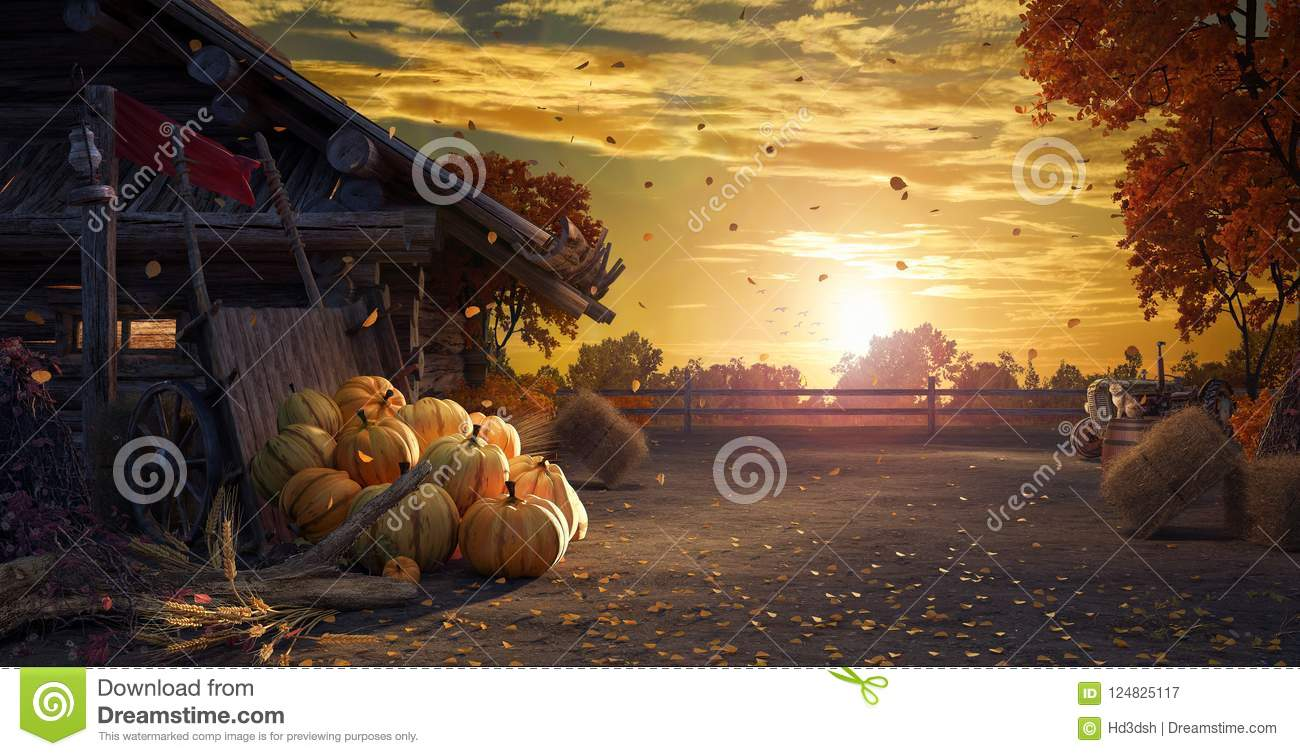Fall in backyard with leaves falling from trees and pumpkins, autumn background