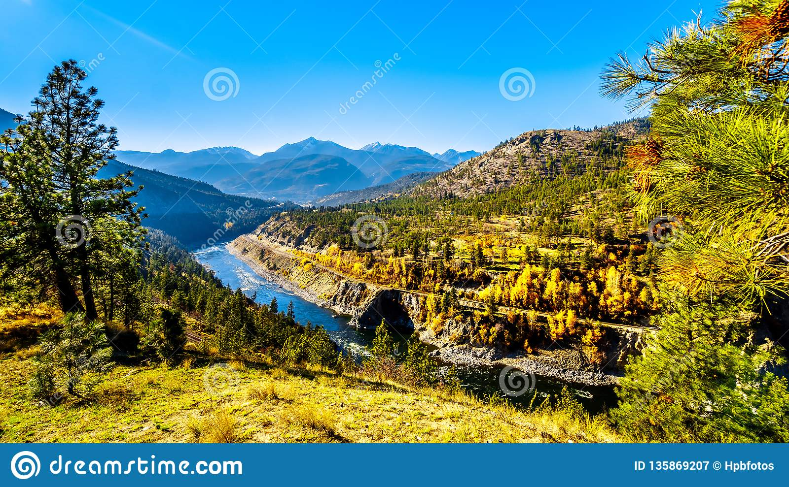 Fall colors along the Thompson River in BC Canada