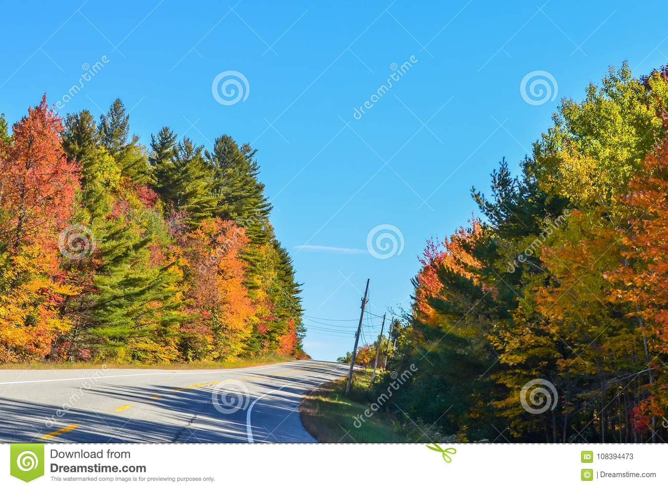 Fall colors on a lonely stretch of highway