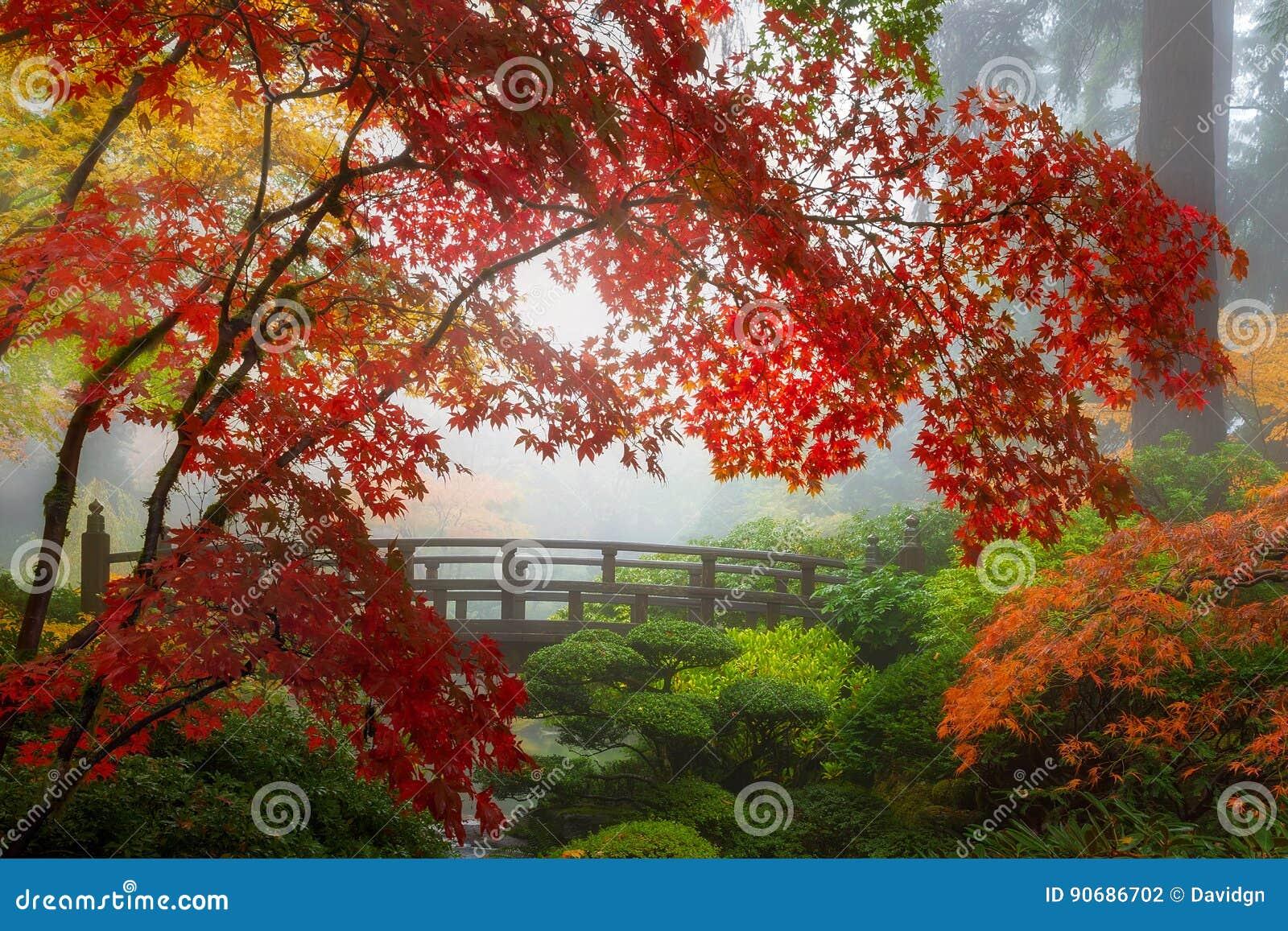 Fall Colors by the Moon Bridge in Portland Japanese Garden in Oregon