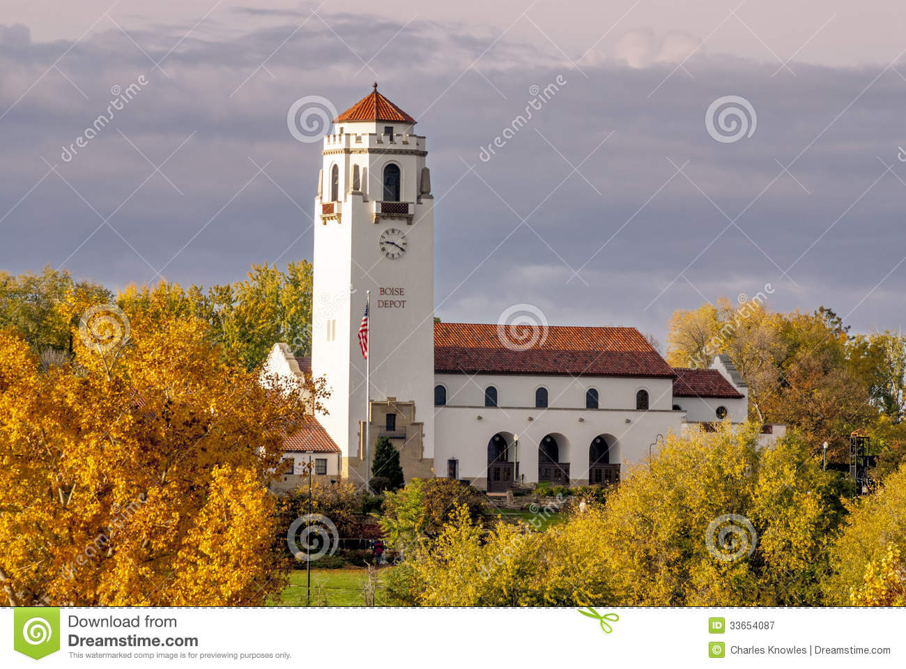 Fall Colors At A Train Depot In Boise Idaho Stock Image
